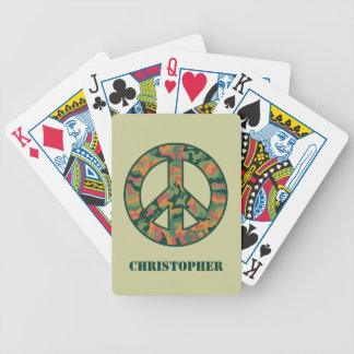 Colorful Camo Peace Bicycle Playing Cards