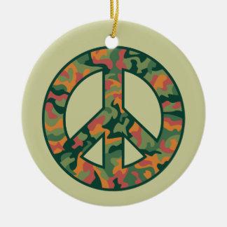 Colorful Camo Peace Ceramic Ornament