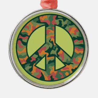 Colorful Camo Peace Metal Ornament