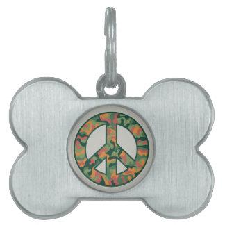 Colorful Camo Peace Pet ID Tag