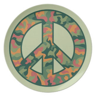 Colorful Camo Peace Plate