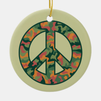 Colorful Camo Peace Round Ceramic Ornament