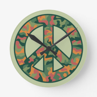 Colorful Camo Peace Round Clock