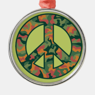 Colorful Camo Peace Silver-Colored Round Ornament