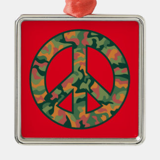 Colorful Camo Peace Silver-Colored Square Ornament