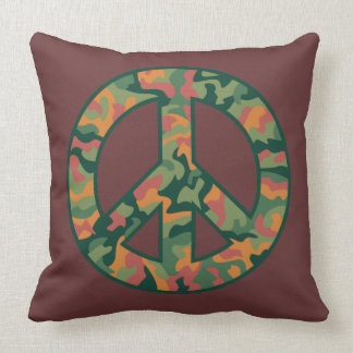 Colorful Camo Peace Throw Pillow