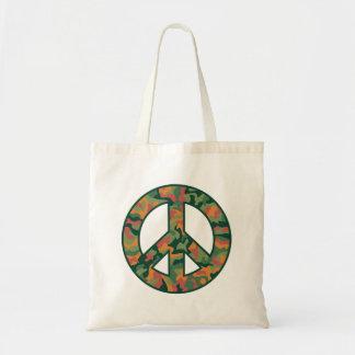 Colorful Camo Peace Tote Bag