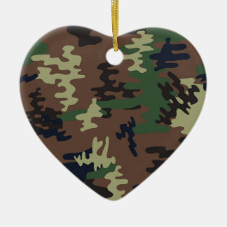 Colorful Camouflage seamless pattern Ceramic Heart Ornament