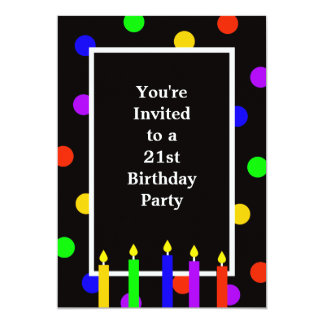 Colorful Candles 21st Birthday Party Invitation