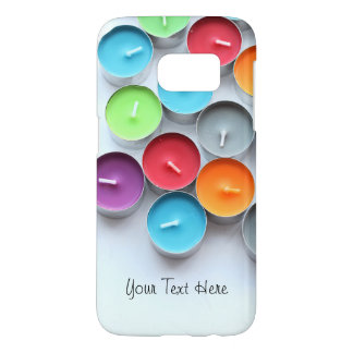Colorful candles personalised text samsung galaxy s7 case
