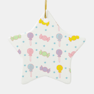 Colorful Candy and Stars Ceramic Star Ornament