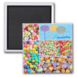 Colorful candy collage magnet