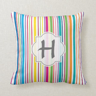 Colorful Candy Stripe - Custom Text Throw Pillow