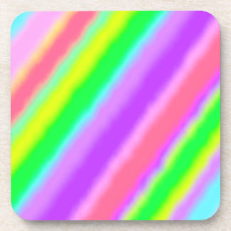 Colorful Candy Stripes Ombre Shadow Beverage Coasters