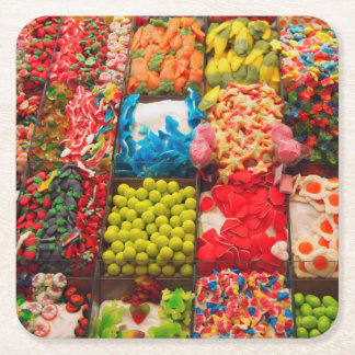 Colorful candy sweet shop coaster