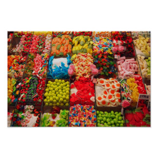 Colorful candy sweet shop poster