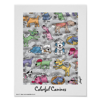 Colorful Canines Poster