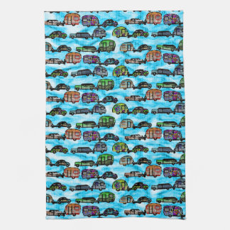 Colorful Caravans With Blue Background Dish Towel