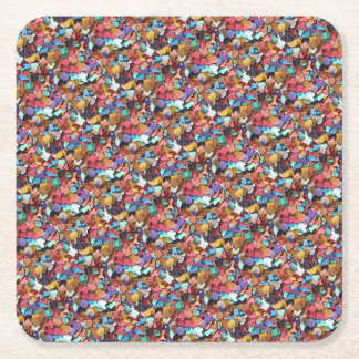 Colorful Carnival Confetti Party Square Paper Coaster