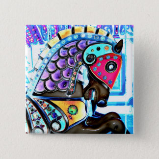 Colorful Carousel Horse 1 2 Inch Square Button