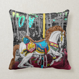 Colorful Carousel Horse at Carnival Throw Pillow