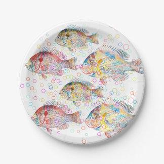 Colorful Carps Paper Plate
