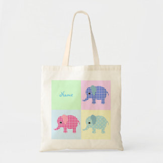 Colorful Cartoon Elephants Jumbo Tote Bag