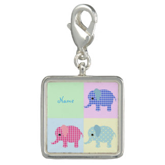 Colorful Cartoon Elephants Photo Charm