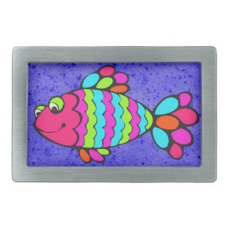 Colorful Cartoon Fish Smiling with Blue Background Belt Buckles