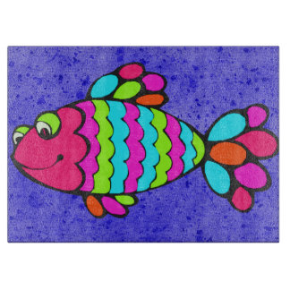 Colorful Cartoon Fish Smiling with Blue Background Boards