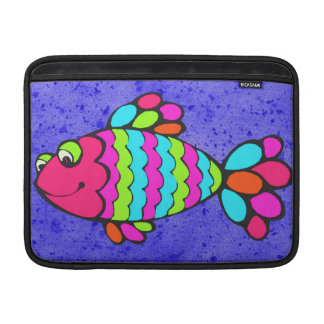 Colorful Cartoon Fish Smiling with Blue Background Sleeve For MacBook Air