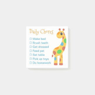 Colorful Cartoon Giraffe Daily Chores List Post-it Notes