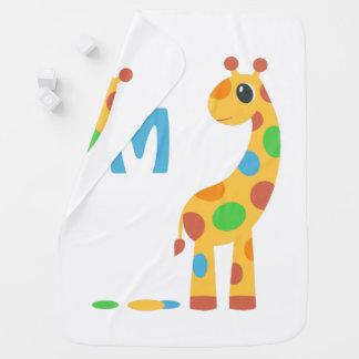 Colorful Cartoon Giraffe Monogram Baby Blanket