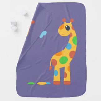 Colorful Cartoon Giraffe on Purple Baby Blanket