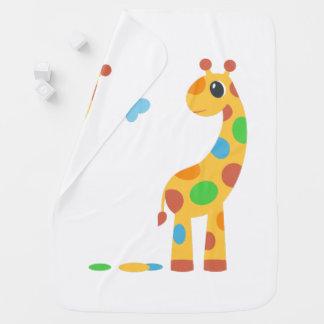 Colorful Cartoon Giraffe On White Baby Blanket