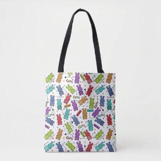 Colorful Cartoon Hippo Pattern Tote Bag