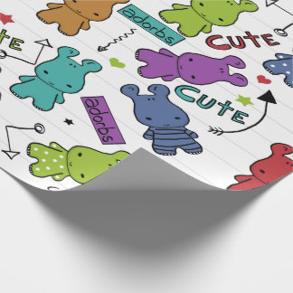 Colorful Cartoon Hippo Pattern Wrapping Paper