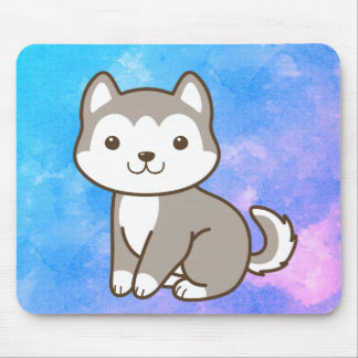 Colorful Cartoon Husky Puppy Dog Mouse Pad