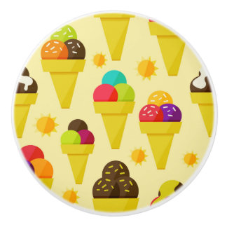 Colorful Cartoon Ice Cream Cones Ceramic Knob