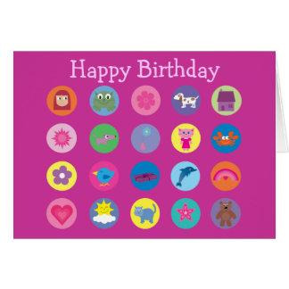 Colorful Cartoon Icons Cute Stuff Pink Birthday Card
