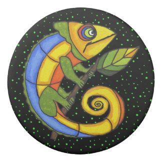 Colorful Cartoon Lizard Big Round eyes on Branch Eraser