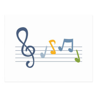 Colorful cartoon music notes postcard