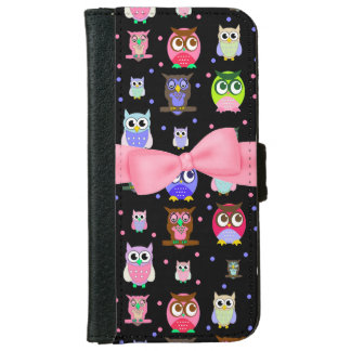 Colorful Cartoon Owls iPhone 6 Wallet Case