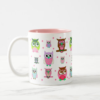 Colorful Cartoon Owls Mug
