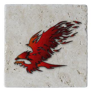 Colorful cartoon red and black eagle hawk falcan trivet