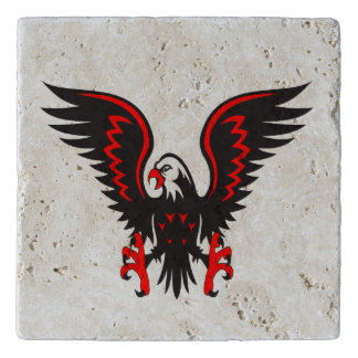 Colorful cartoon red and black eagle trivet