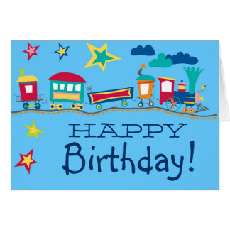 Colorful cartoon train happy birthday card