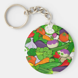 Colorful Cartoon Vegetables Basic Round Button Keychain