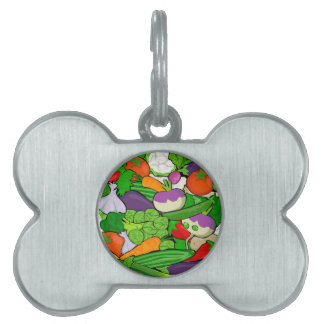 Colorful Cartoon Vegetables Pet ID Tags