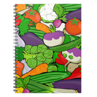 Colorful Cartoon Vegetables Spiral Notebook